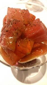 トマトと中トロのカルパッチョ